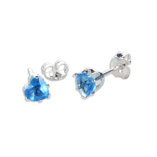 Sterling Silver Blue Zircon CZ 4mm Heart Stud Earrings