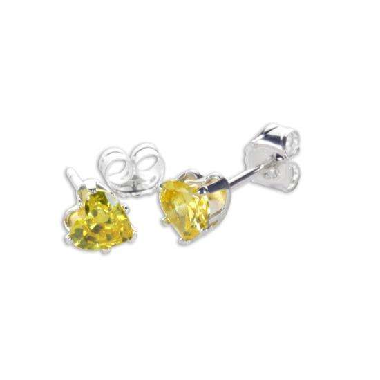 Sterling Silver Citrine CZ 4mm Heart Stud Earrings
