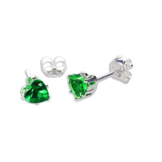 Sterling Silver Emerald CZ 4mm Heart Stud Earrings