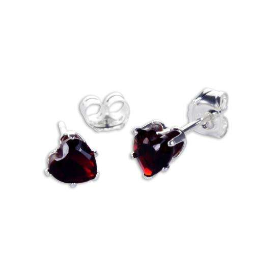 Sterling Silver Garnet CZ 4mm Heart Stud Earrings