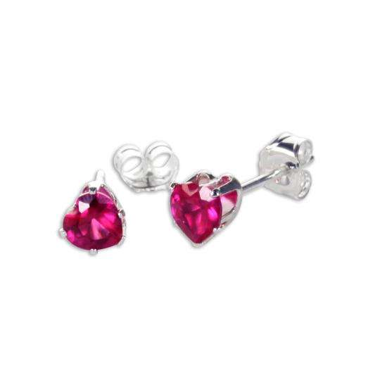 Sterling Silver Ruby CZ 4mm Heart Stud Earrings