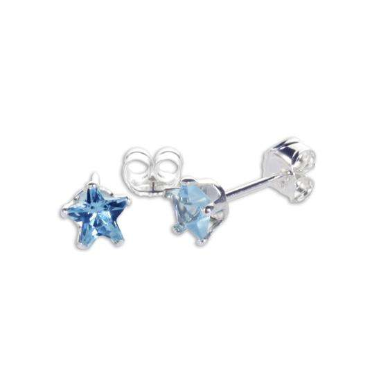 Sterling Silver Aquamarine CZ 4mm Star Stud Earrings