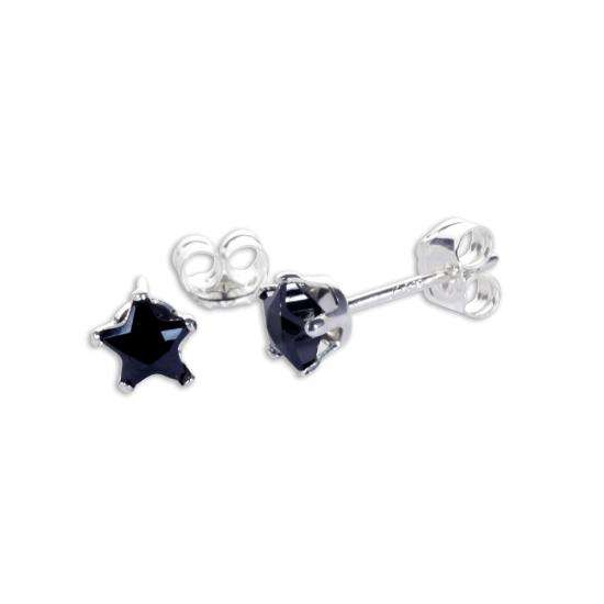 Sterling Silver Black CZ 4mm Star Stud Earrings