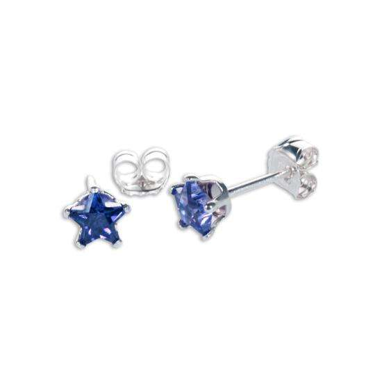 Sterling Silver Sapphire CZ 4mm Star Stud Earrings