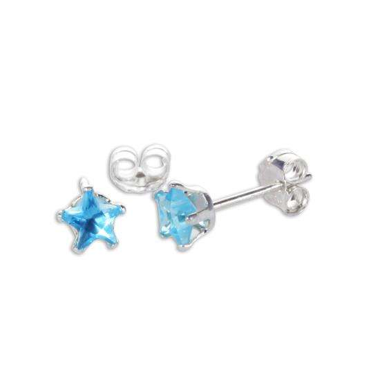 Sterling Silver Blue Zircon CZ 4mm Star Stud Earrings