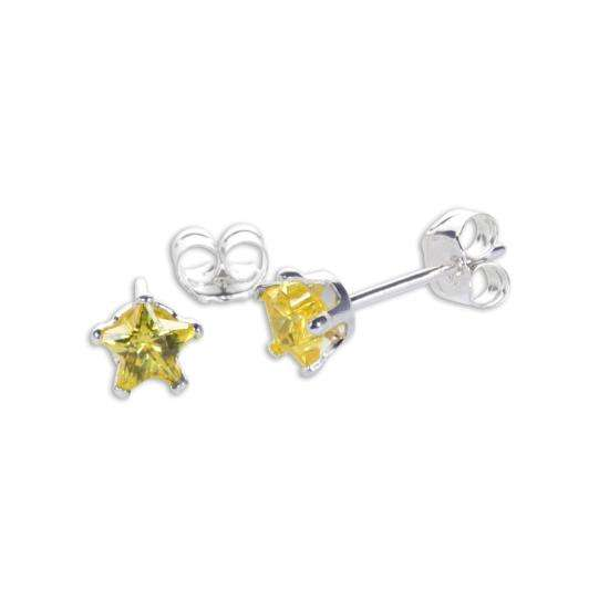 Sterling Silver Citrine CZ 4mm Star Stud Earrings