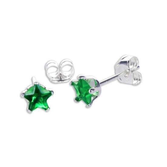 Sterling Silver Emerald CZ 4mm Star Stud Earrings