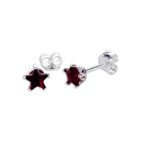 Sterling Silver Garnet CZ 4mm Star Stud Earrings