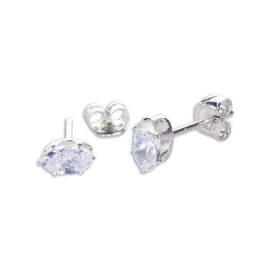 Sterling Silver Clear CZ Oval Stud Earrings