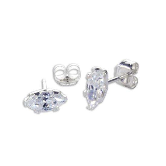 Sterling Silver Clear CZ Marquis Stud Earrings