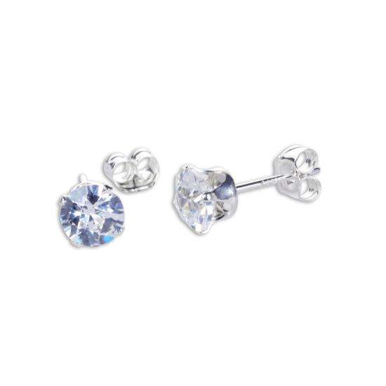 Sterling Silver Clear CZ Round Briolette 5mm Stud Earrings