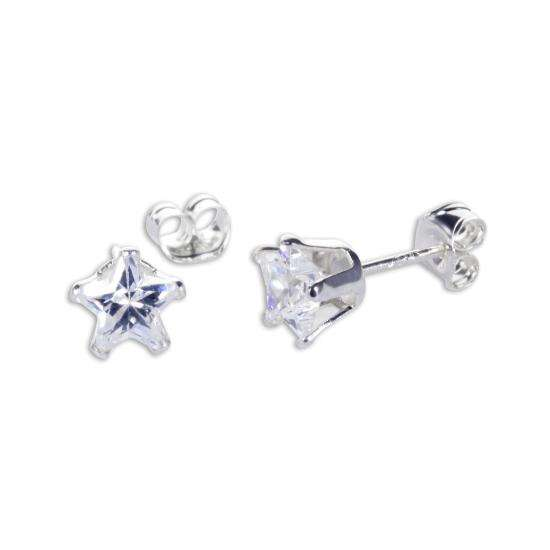 Sterling Silver Clear CZ 5mm Star Stud Earrings