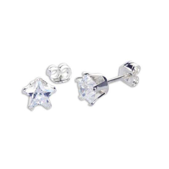 Sterling Silver Clear CZ 6mm Star Stud Earrings