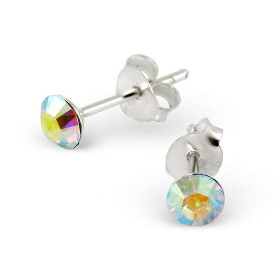 4mm Round Abalone Crystal Sterling Silver Stud Earrings