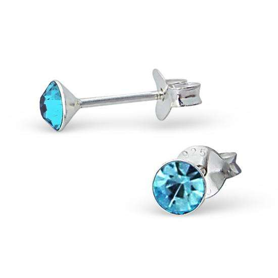 4mm Round Aquamarine Crystal Sterling Silver Stud Earrings