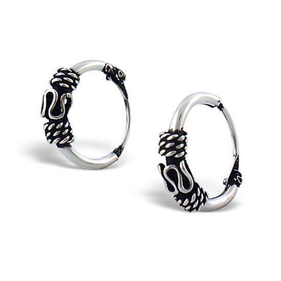 Sterling Silver 10mm Spool Patterned Hoop Earrings