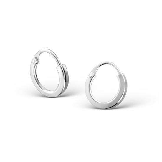 10mm Sterling Silver Square Edged Hoop Earrings