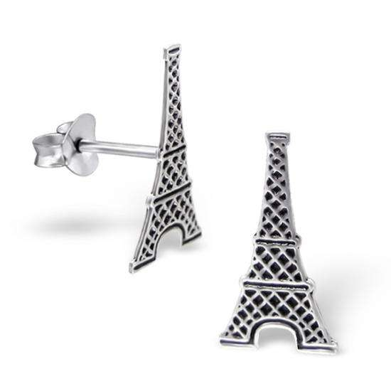 Sterling Silver Eiffel Tower Stud Earrings
