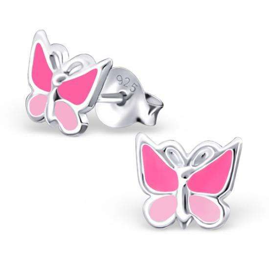 Sterling Silver Pink Enamel Butterfly Stud Earrings