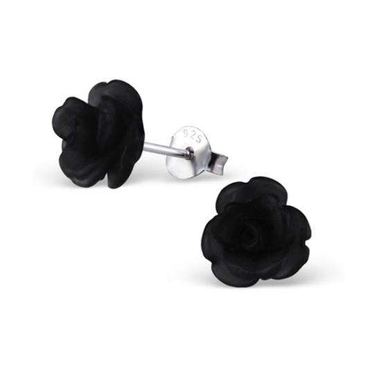 Sterling Silver & Black Resin Rose Stud Earrings