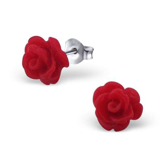 Sterling Silver & Red Resin Rose Stud Earrings
