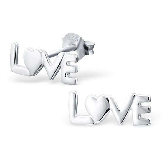 Sterling Silver Love Stud Earrings