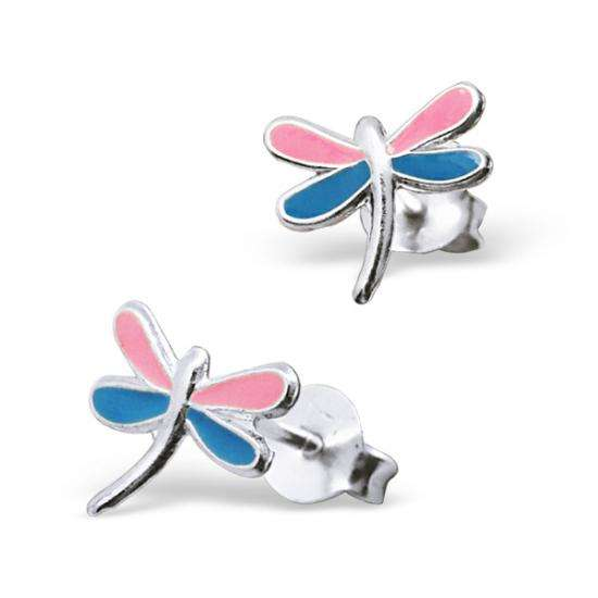 Sterling Silver Blue & Pink Enamelled Dragonfly Stud Earrings