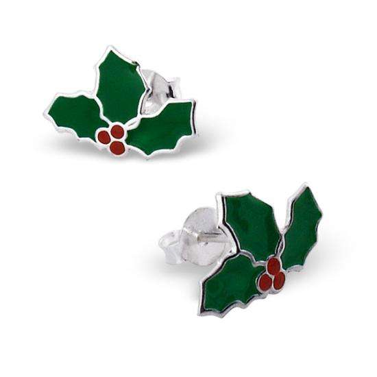 Sterling Silver & Enamel Holly Leaves Stud Earrings