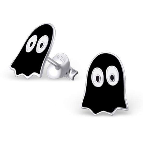 Cute Retro Sterling Silver & Black Enamel Gaming Ghost Stud Earrings