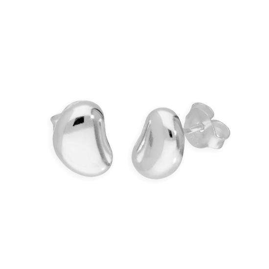 Sterling Silver Kidney Bean Shaped 3D Stud Earrings