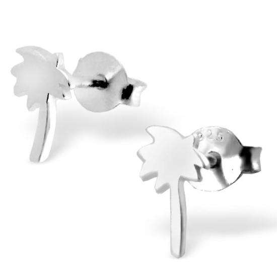 Sterling Silver Flat Coconut Palm Tree Silhouette Stud Earrings
