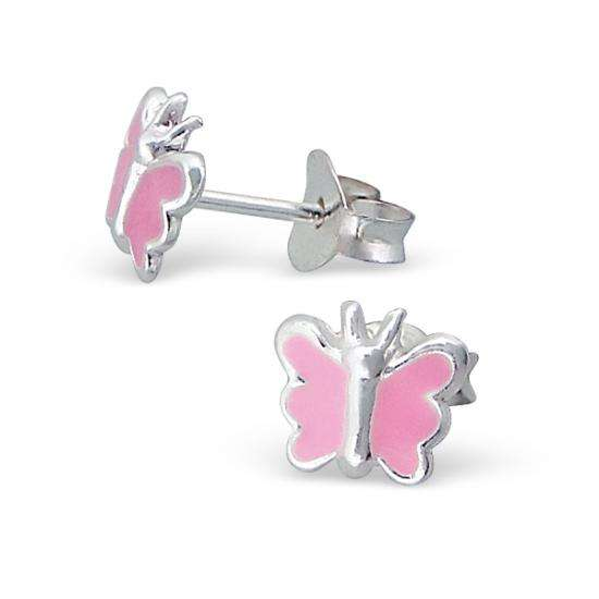 Sterling Silver & Pink Enamel Butterfly Stud Earrings