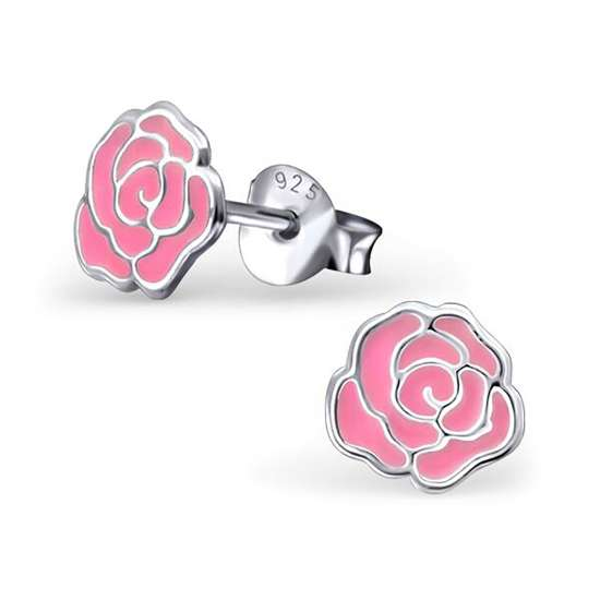 Sterling Silver & Pink Enamel 2D Rose Stud Earrings