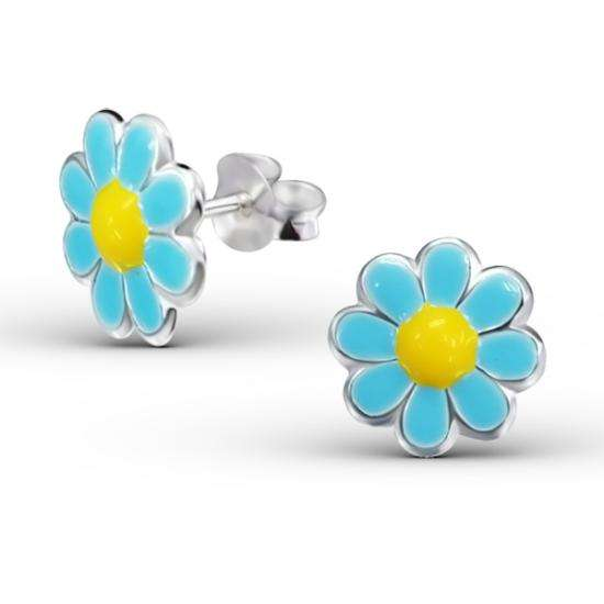 Sterling Silver & Blue & Yellow Enamel Daisy Flower Stud Earrings