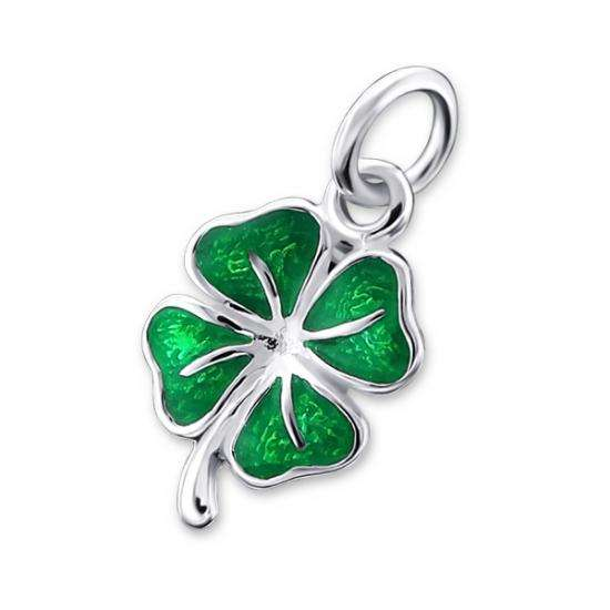 Sterling Silver & Green Enamel Lucky Clover Pendant - No Chain