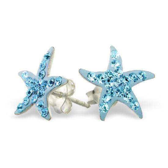 Sterling Silver Blue CZ Crystal Encrusted Star Stud Earrings