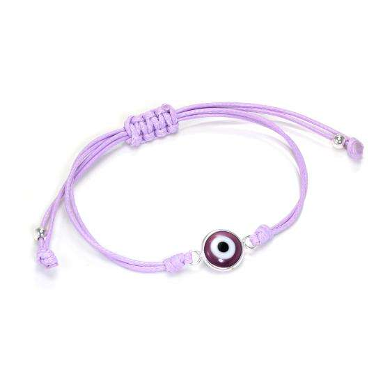 Lilac Cotton Cord Adjustable Bracelet w Sterling Silver Evil Eye Charm