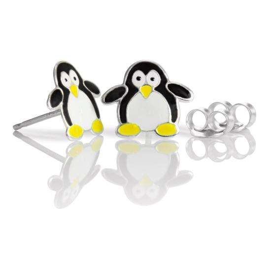 Sterling Silver & Enamel Penguin Stud Earrings