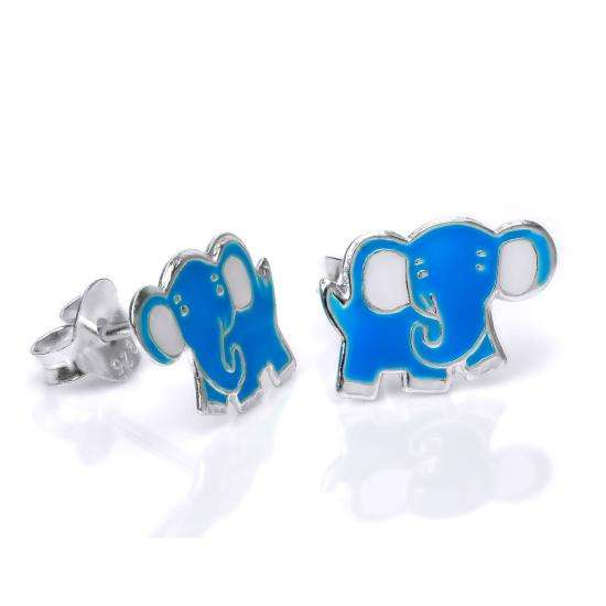 Sterling Silver & Blue Enamel Cute Elephant Stud Earrings