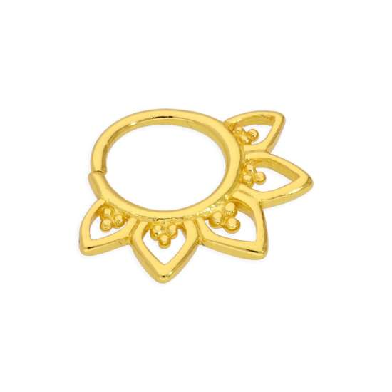 Yellow Gold Plated Sterling Silver 20Ga Ornate Clicker Septum Nose Ring Hoop