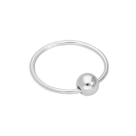 Sterling Silver 22Ga Septum Nose Ring Hoop with Ball