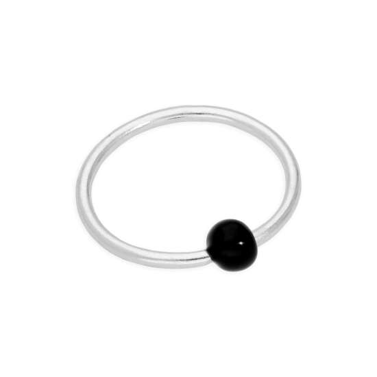 Sterling Silver 21Ga Septum Nose Ring Hoop with 2mm Black Coated Ball