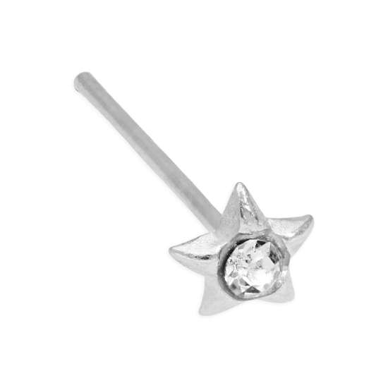 Sterling Silver & Clear CZ Crystal 3mm Star Bend To Fit Nose Stud 24Ga
