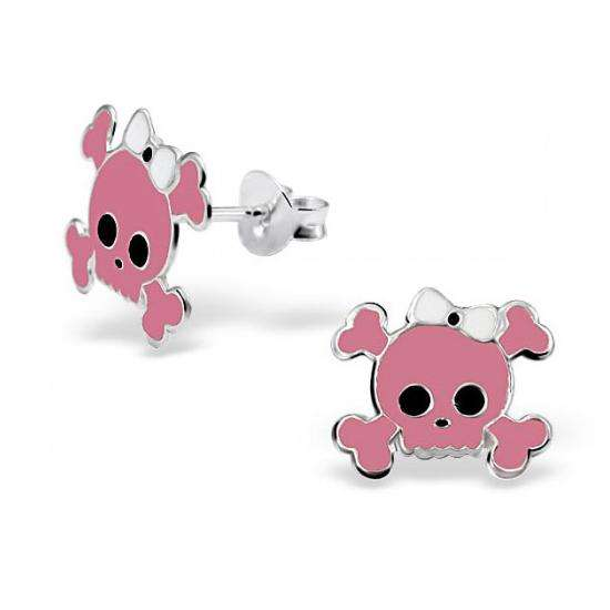 Sterling Silver Pink Skull Stud Earrings