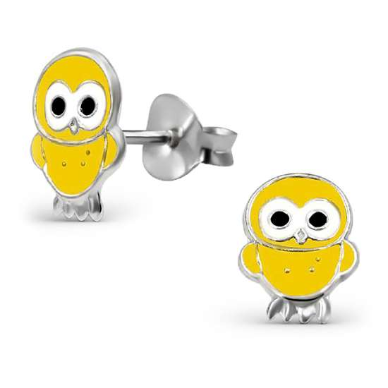 Sterling Silver Yellow Acrylic Chick Stud Earrings