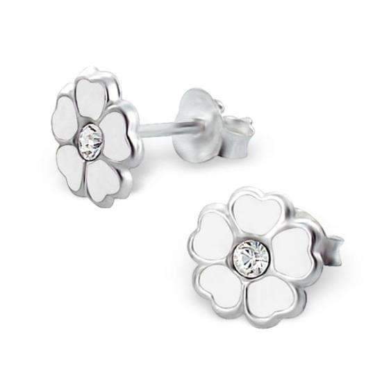 Sterling Silver Crystal Flower Stud Earrings
