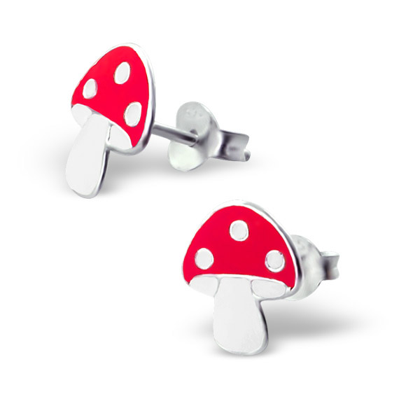 Sterling Silver Mushroom Stud Earrings
