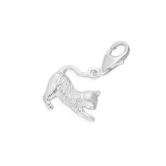TheCharmWorks Sterling Silver Stretching Cat Clip on Charm
