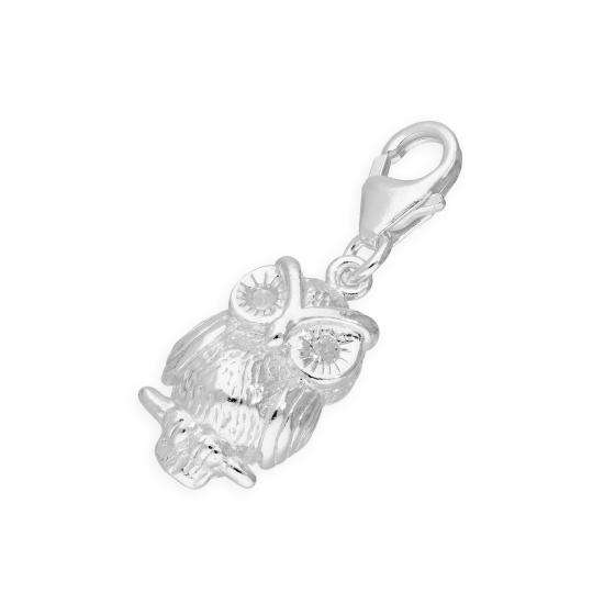 TheCharmWorks Sterling Silver & Crystal Owl Clip on Charm