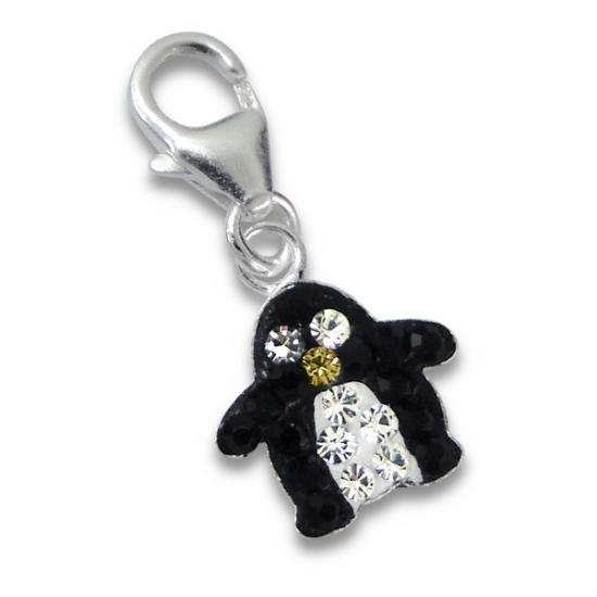 TheCharmWorks Sterling Silver Crystal Penguin Clip on Charm